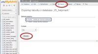 phpMyAdmin rychlý export