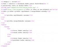 HTML a XHTML ukázka kódu