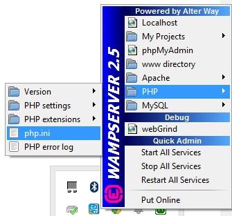 Umístění php.ini ve WAMPu