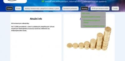 ukázka horizontálního menu při návrhu tvorby webu