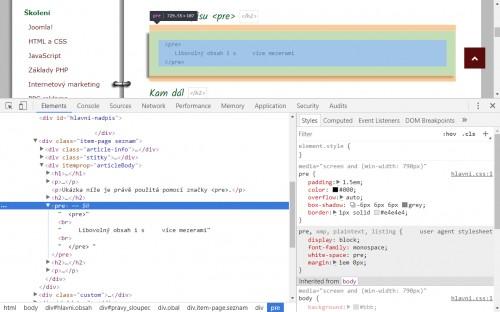 html znacka pre