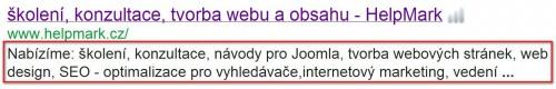 description (popis) na Google